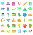 contact us icons set cartoon style vector image vector image