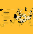 coworkers pushing pieces puzzle vector image vector image