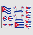 cuba flag set collection of symbols flag vector image