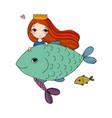 cute cartoon mermaid and fish siren sea theme vector image vector image