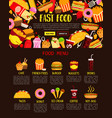 fast food menu web banner of lunch meal and drink vector image vector image