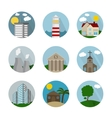 Flat icon circle buildings vector image