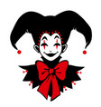 funny joker face in red and black colors vector image