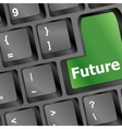 future time concept with key on computer keyboard vector image vector image