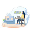girl working at home vector image vector image