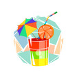 glass with a cocktail vector image