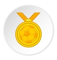 Gold medal with a ball icon cartoon style vector image