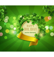 Green background the holiday st Patrika vector image