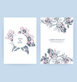 hand drawn sakura pink blossom flowers and leaves vector image vector image