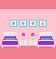 hotel room interior with two beds bedroom vector image