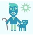 Man and dog flat icon vector image vector image