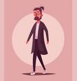 man in a coat walking on city cartoon vector image vector image