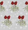mistletoe bouquet with red bow on snowflake backgr vector image