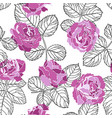 peonies or roses with leaves monochrome sketch vector image vector image
