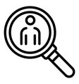 person under magnifier icon outline style vector image vector image