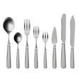 realistic cutlery stainless steel tableware vector image vector image