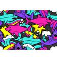 seamless pattern with cartoon sharks urban vector image vector image