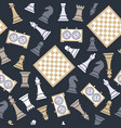 seamless pattern with chess on dark bluu vector image vector image