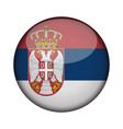 serbia flag in glossy round button of icon serbia vector image