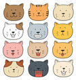 set of cat face vector image