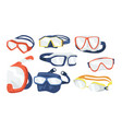 set snorkeling masks icons scuba diving vector image