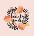 simple floral frame peony logo design template vector image vector image
