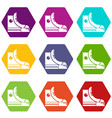 sneakers hipster shoes icons set 9 vector image