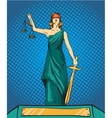 Statue god of justice Themis Femida with balance vector image vector image