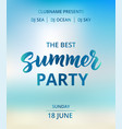 summer party text beach party poster nautical vector image vector image