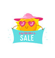 summer sale banner with cute sun in heart shaped vector image