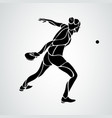 table tennis female player with racket forehand vector image vector image