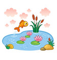 the fish jumps into the pond vector image