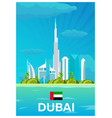 travel poster to dubai flat vector image vector image