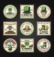 vintage saint patricks day stamps set vector image