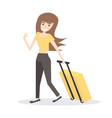 young woman with yellow suitcase isolated on vector image