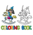 Brave boy on wooden horse Coloring book vector image