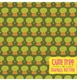 Cute cartoon tree oak seamless pattern vector image