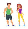 cartoon of sporty man and woman vector image