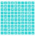 100 kids games icons set grunge blue vector image vector image