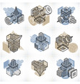 abstract constructions set dimensional designs vector image vector image