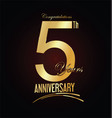 anniversary golden sign 5 years vector image vector image