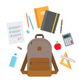 back to school backpack with flying school vector image vector image