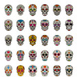 big set mexican sugar skulls isolated on white vector image vector image