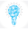 blue gear make bulb shape vector image