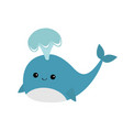 blue whale with fountain sea ocean life cute vector image vector image