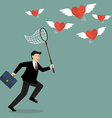 Businessman trying to catch hearts flying vector image vector image