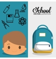 cartoon boy bag chemistry elements school flyier vector image vector image