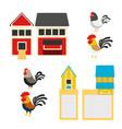 chicken coop set vector image vector image