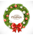 christmas wreath happy new year greeting card vector image