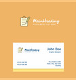 clipboard logo design with business card template vector image vector image